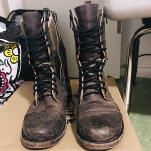 Shoes - FREEBIRD-STEVEN CHASE LEATHER COMBAT LACE UP BOOTS